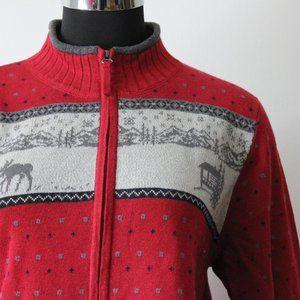 Woolrich Red Winter Zip Up Sweater